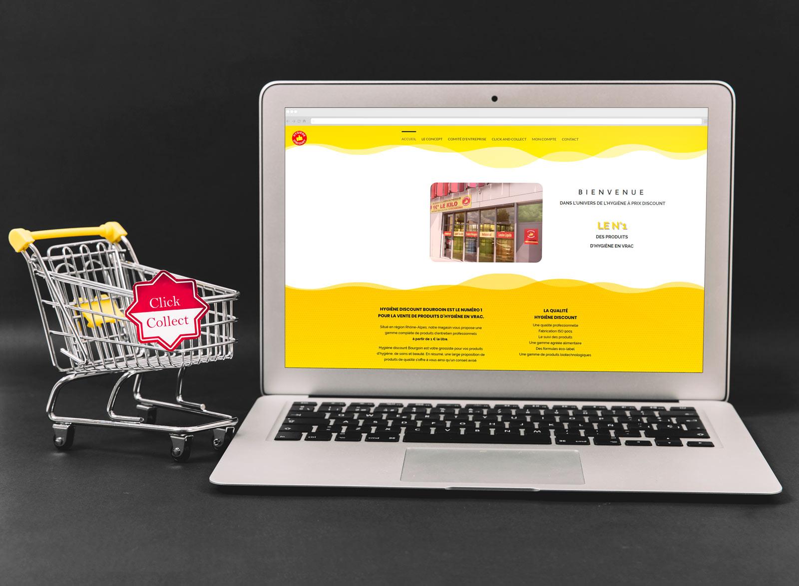 création site clic collect discount hygiène